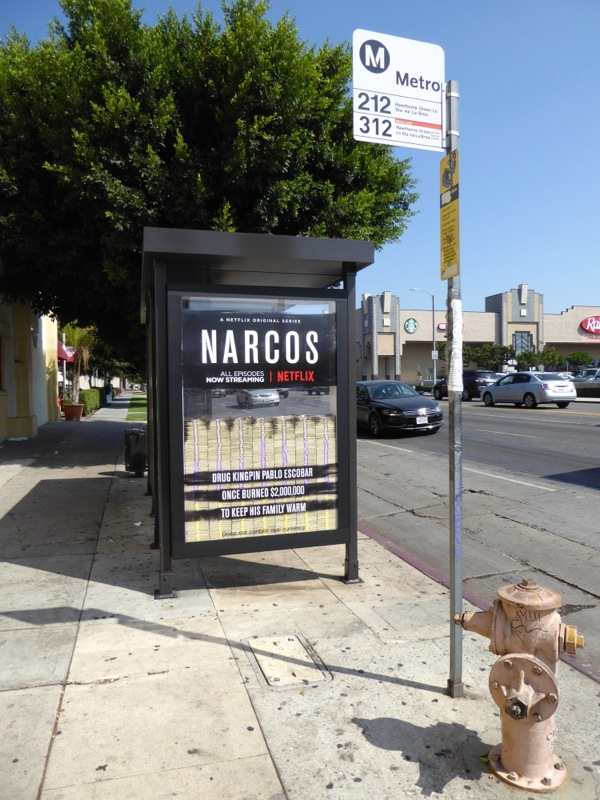 Narcos season 2 bus shelter ad installation
