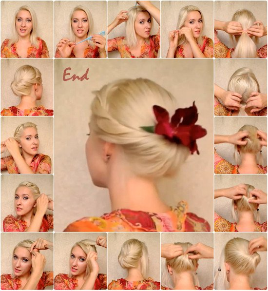 6.ELEGANT UPDO FOR MEDIUM LONG HAIR