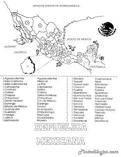 Mapa de México para colorear | Mapa de la Republica Mexicana para colorear