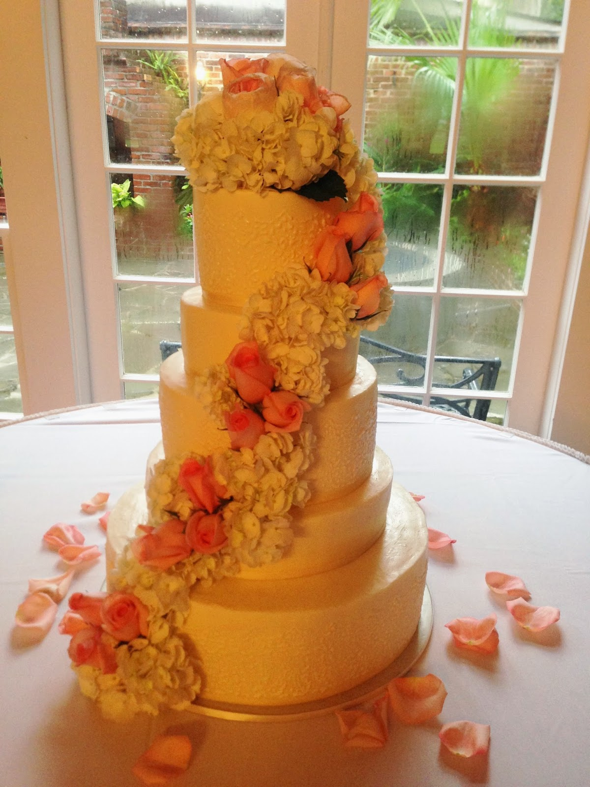 "Cakes by Mindy: 5 Tiered Victorian Lace Wedding Cake 6"", 8"", 10"", 12"", & 16"""