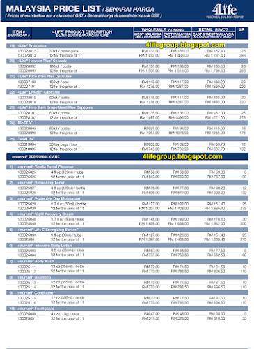 foto Senarai Harga 4Life Malaysia (Termasuk GST) (2)