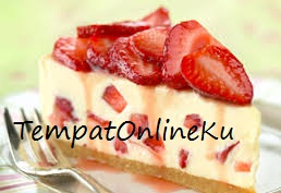 strawberry cheese cake lembut lezat
