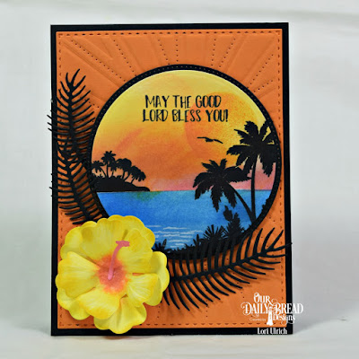 Our Daily Bread Designs Stamp Set: Aloha, Custom Dies: Hibiscus, Ferns, Circles, Pierced Circles, Sunburst Background