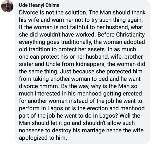 Nigerian man threatens to divorce his wife after he found out she went to a native doctor to make him lose erection with other women except her