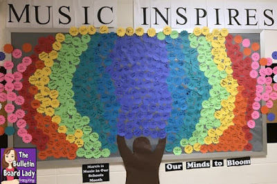 Music Inspires Bulletin Board. This music advocacy bulletin board is a great way to included EVERYONE in your building! Read about how to put this display together and inspire your school from the Bulletin Board Lady.