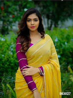 yellow_georgette_saree_nepal