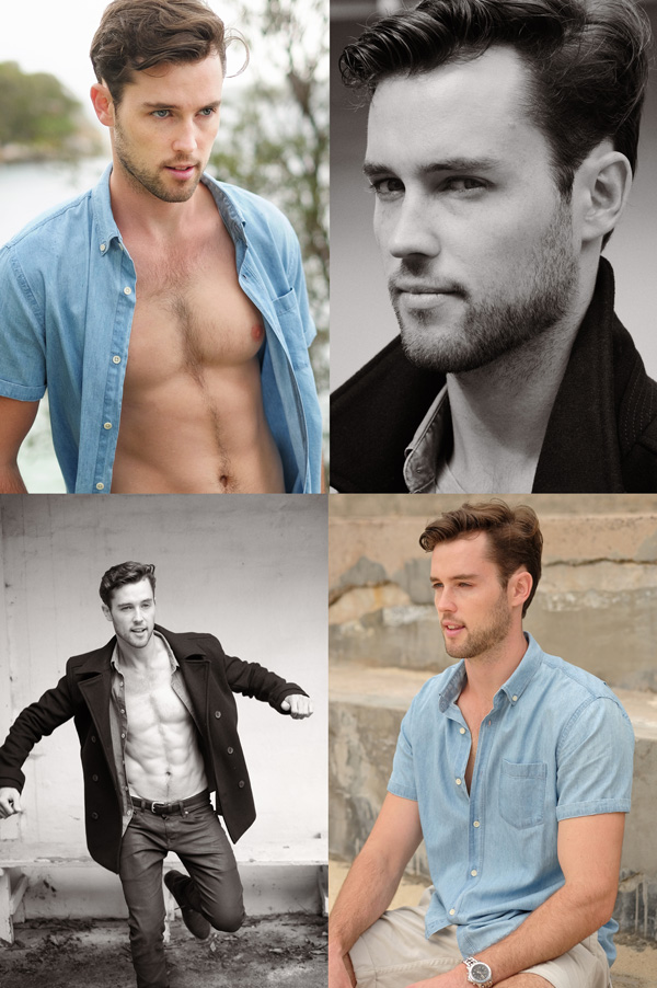 Four shots from a Men's comp card for a modelling portfolio, photographed in Sydney Australia by Kent Johnson.