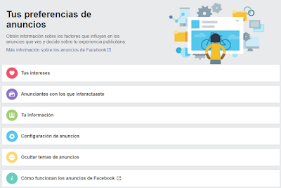 Facebook, ads, anuncios, preferencias, redes sociales