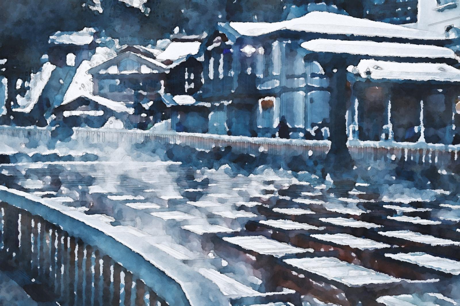 水彩画の草津温泉