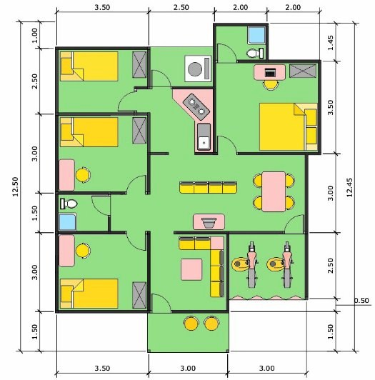 Denah Rumah Ukuran 6x8 Minimalis Dengan Garasi