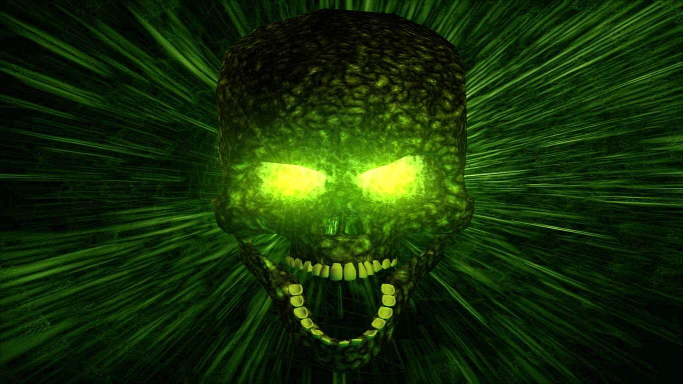 Cool Green And Black Skull Wallpaper