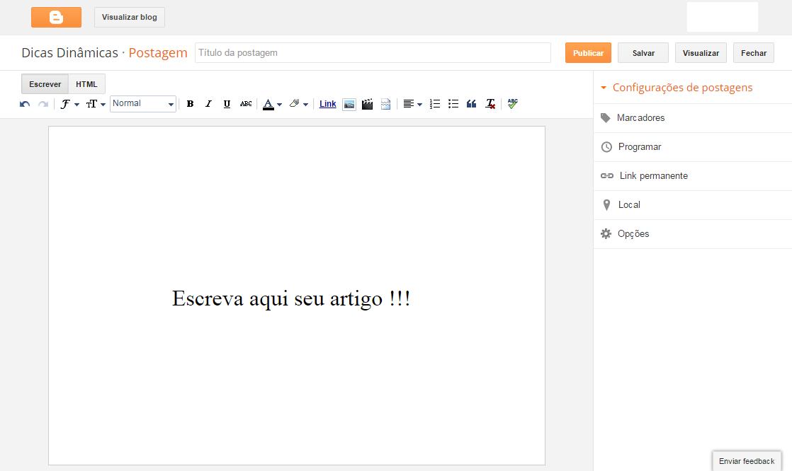 Aprenda a criar e editar uma postagem no Blogger