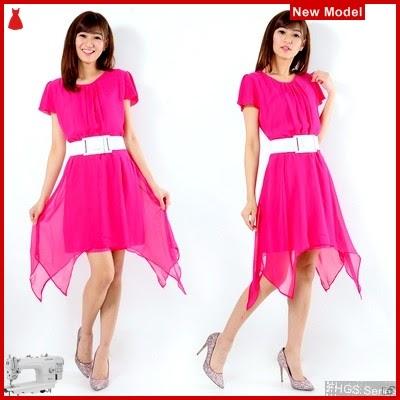 FHGS9146 Model Veronika Dress AK, Ceruty Dress Perempuan Pink BMG