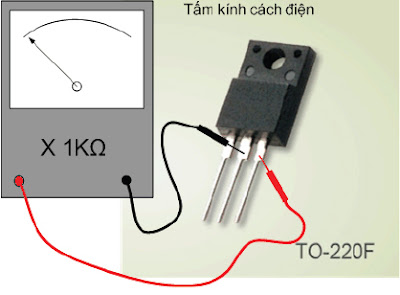 Hình 8f - Sau khi nạp âm cho G và đo thuận D - S thì đèn phải tắt, nếu đèn vẫn dẫn là đèn bị dò D - S 1.3.4. IC dao động KA3842.