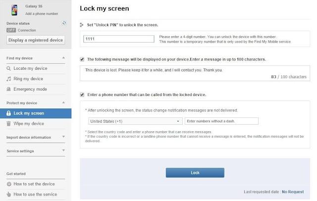 Menggunakan Samsung 'Find My Mobile' Service