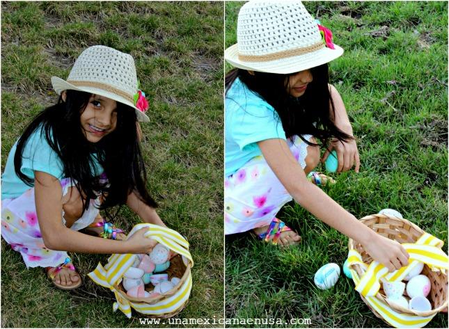 Recogiendo huevos de pascua.