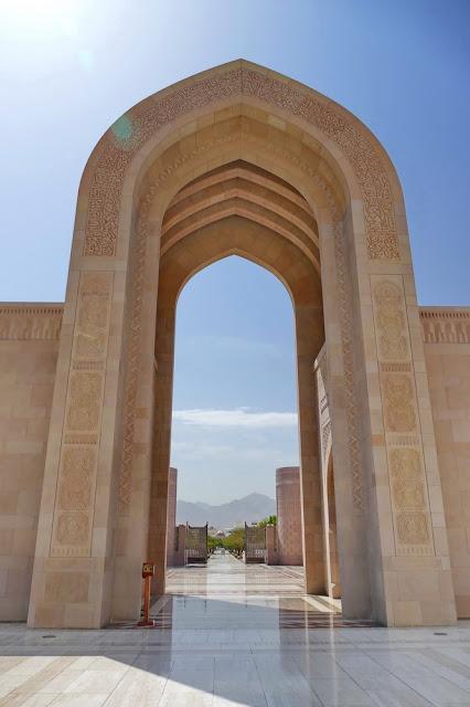 Gross, Sultan, Qabus, Moschee, Muscat, Oman, Tor, Sichtachse