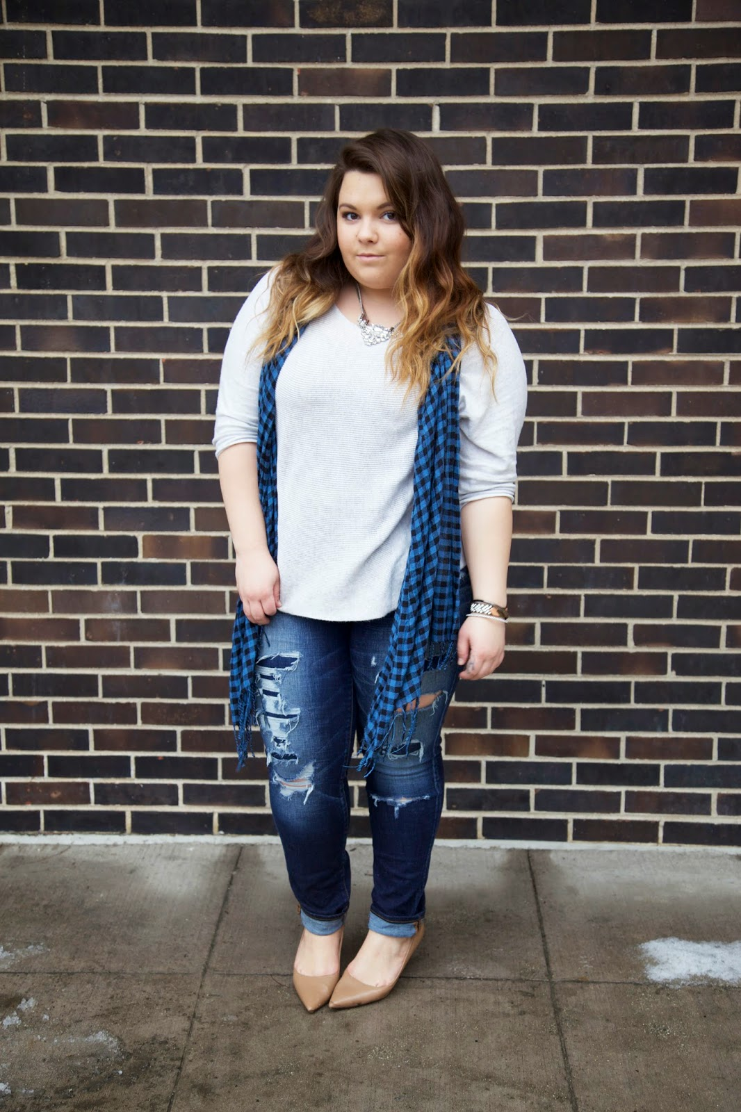 BKE jewelry, plus size fashion blogger, chicago fashion, winter fashion, checkered scarf, sweater season, ripped denim, american eagle jeans, natalie craig, natalie in the city, curvy women, bbw, fatshion, ombre hair, forever 21, blogger, body positivity, fat acceptance movement, curves