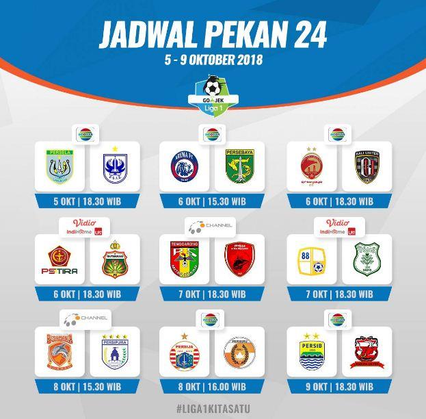 Jadwal Liga 1 Pekan 24 - Siaran Langsung Indosiar & OChannel