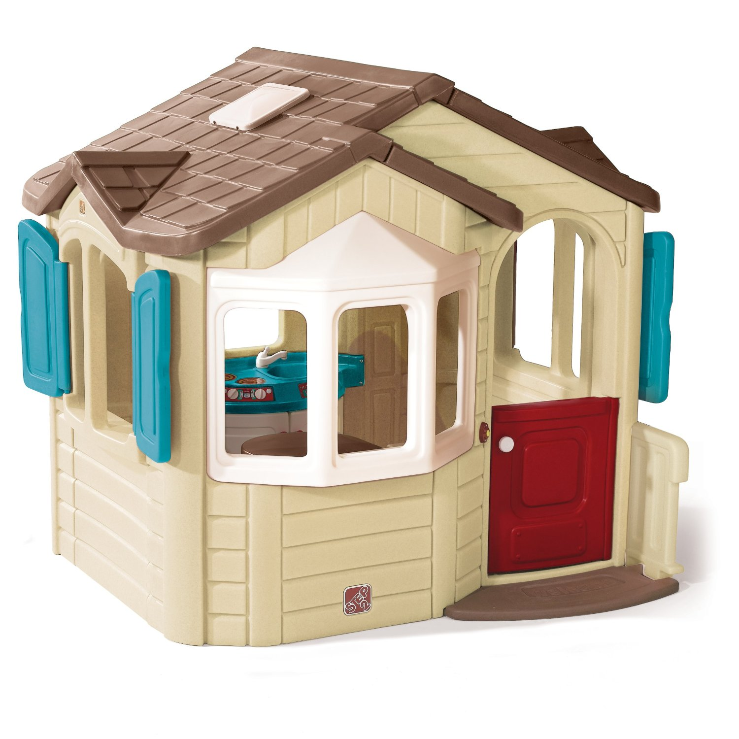 Total fab outdoor playhouse with kitchen inside for Casita infantil jardin