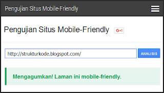 mengecek template mobile friendly
