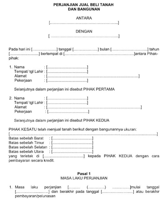 Contoh Surat Perjanjian Jual Beli Tanah & Bangunan Format Word