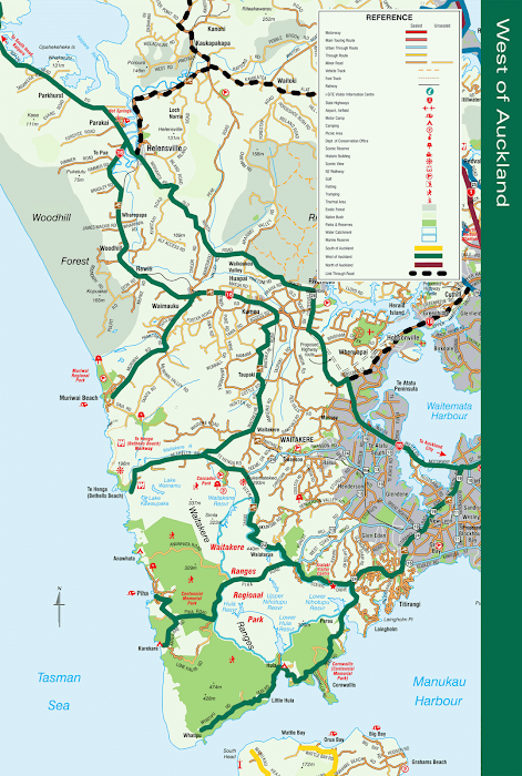West of Auckland map