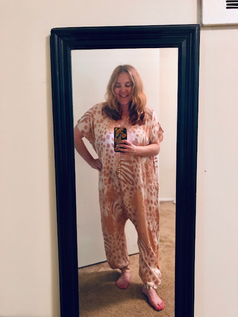 Nuuly, clothing rental, subscription box, fashion, Carolina K Sera Jumpsuit, animal print, mirror selfie
