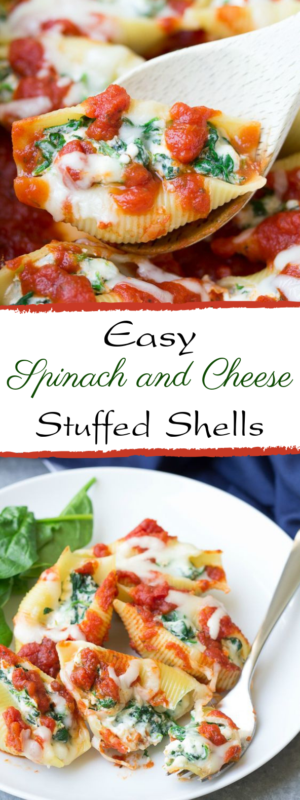 Spinach and Cheese Stuffed Shells #vegandinner #vegetarian