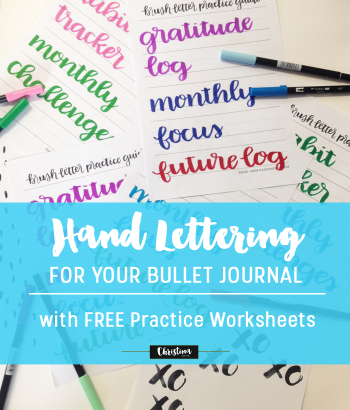 Free Brush Lettering Practice Printable with Bullet Journal spread titles - www.christina77star.co.uk