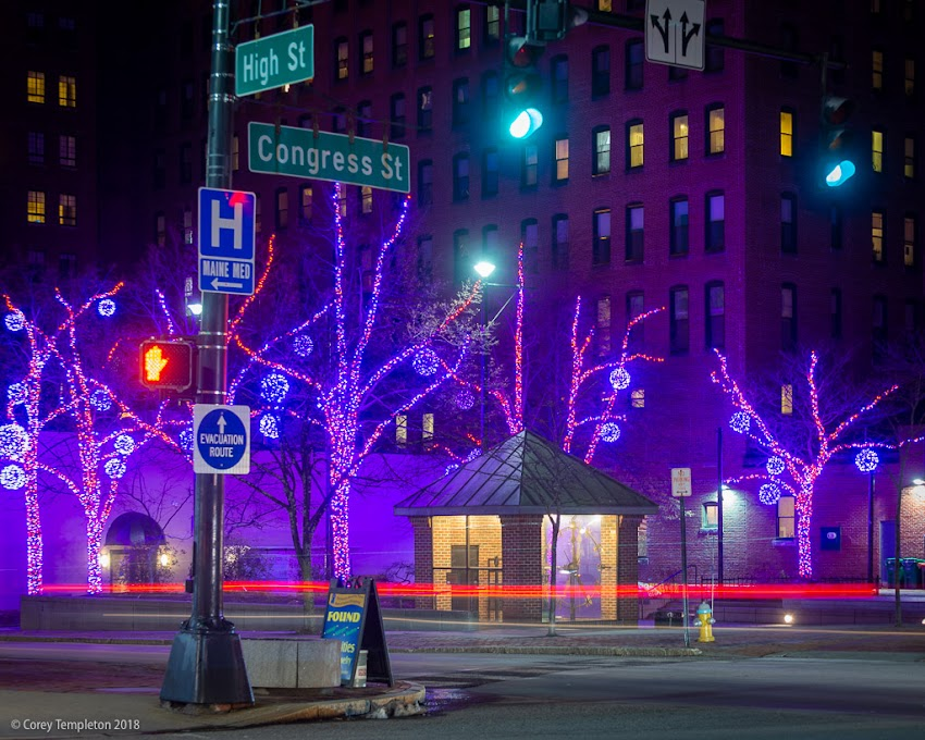 Portland, Maine USA Photo by Corey Templeton. November 2018. The blue/red/purple lighting theme in Congress Square Park this year.