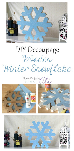 wood snowflake  tutorial decoupage with sparkly scrapbook paper