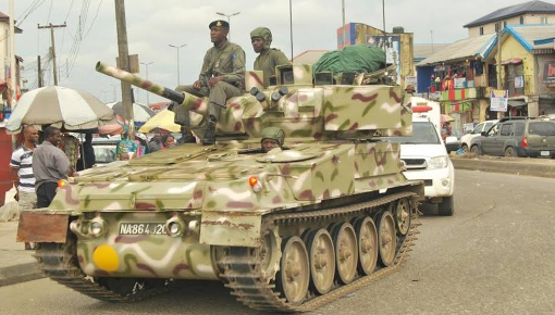 Photos: Army parades armoured tanks on Port Harcourt road