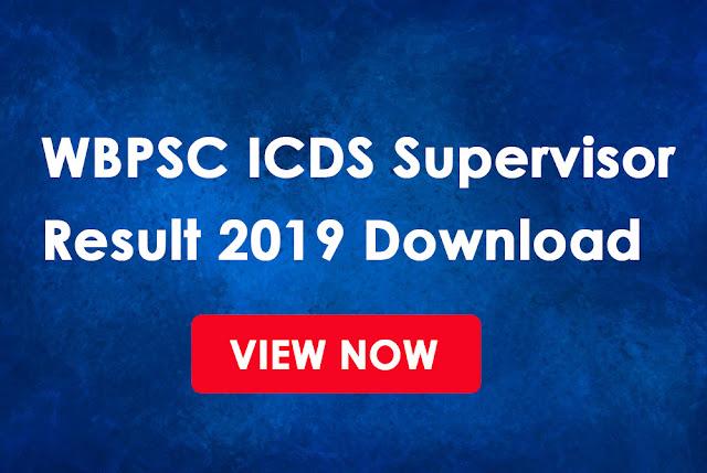 ICDS Supervisor Result 2019