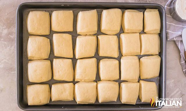 Texas Roadhouse rolls risen on sheet pan