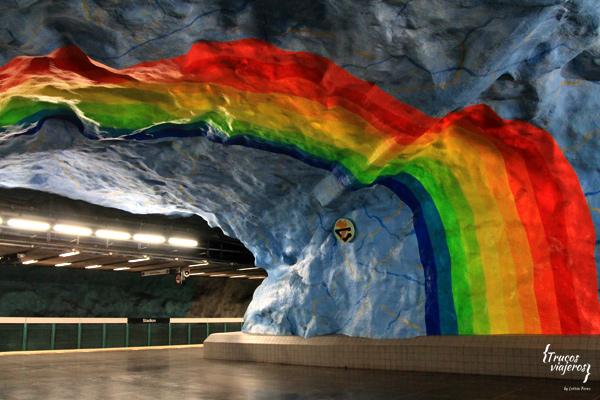 Arcoiris en el metro de Estocolmo - Stadion