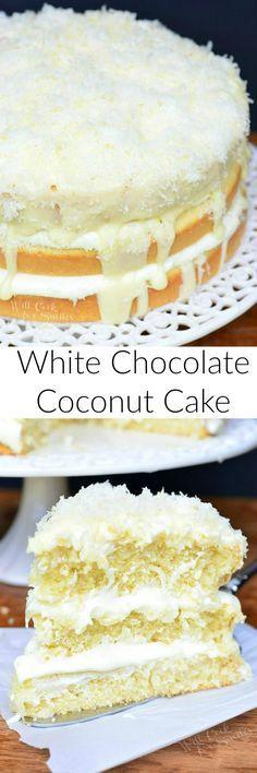 Whíte Chocolate Coconut Cake
