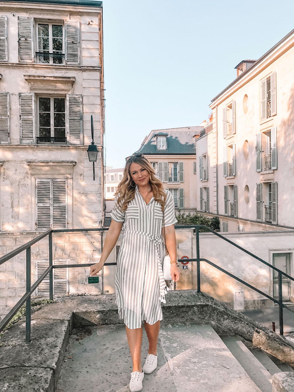 Amanda Martin wears stripes in Paris