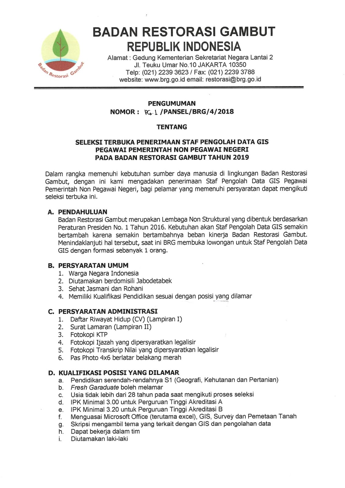 Lowongan Kerja Badan Restorasi Gambut Republik Indonesia April 2019