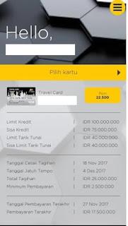 Tampilan informasi limit dan tagihan di Mega Credit Card Mobile