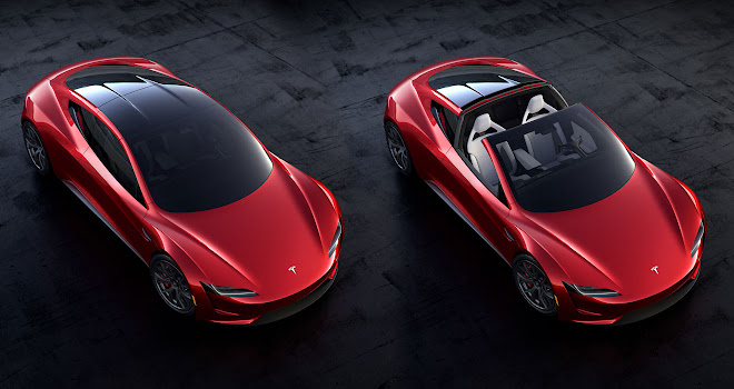 Tesla 2020 Roadster open and closed