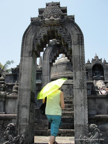 miniature replica of Borobudur Temple in Java at Taman Nusa Indonesian cultural park in Bali