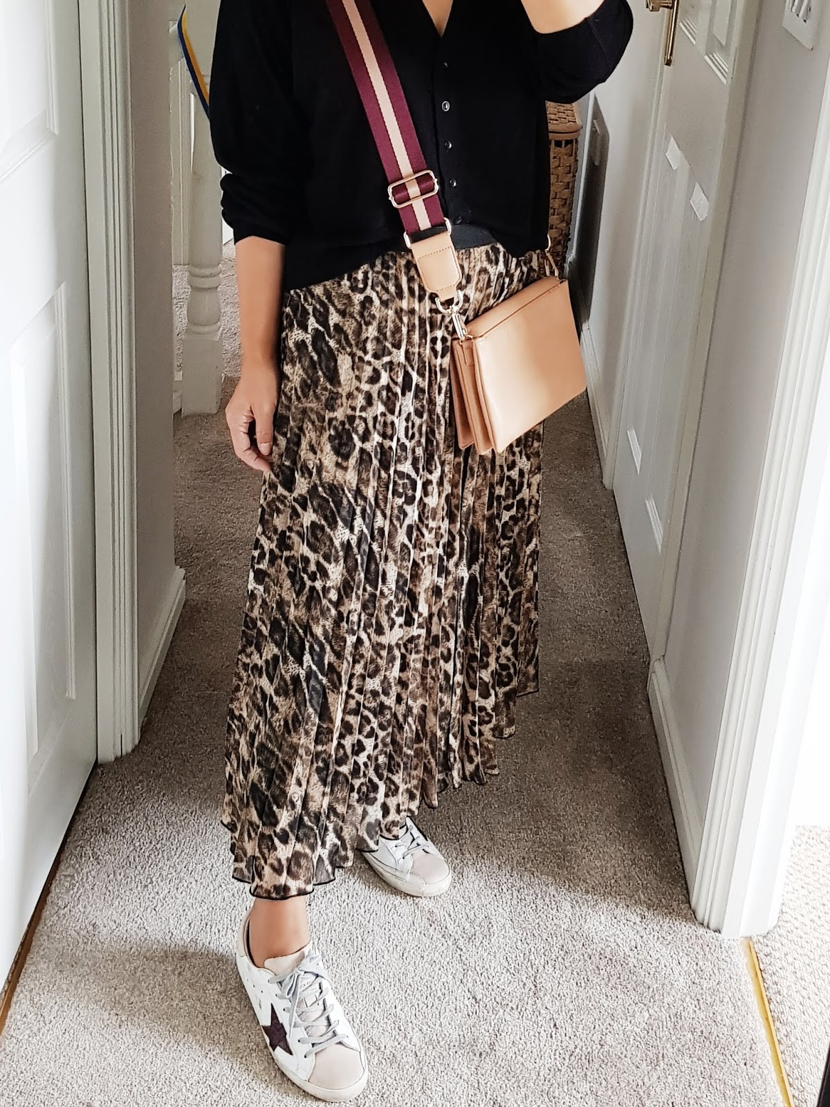 75b58ce61a6c Zara cardigan (ss18) H M Bag (ss16) Primark Skirt (instore AW18) Golden  Goose trainers (AW17) It s August so it means the autumn stock is filtering  in.