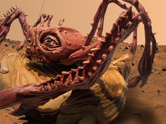 Suposto Monstro Caranguejo da caverna em Marte