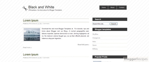 Black and White Blogger Template