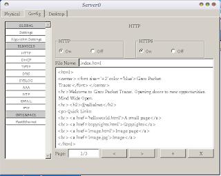 Settingan IP address selesai, beralih ke server. Pilih tab Config lalu klik HTTP, edit file index.html sesuai dengan keinginan dan bila tidak ingin mengeditnya juga tak masalah.