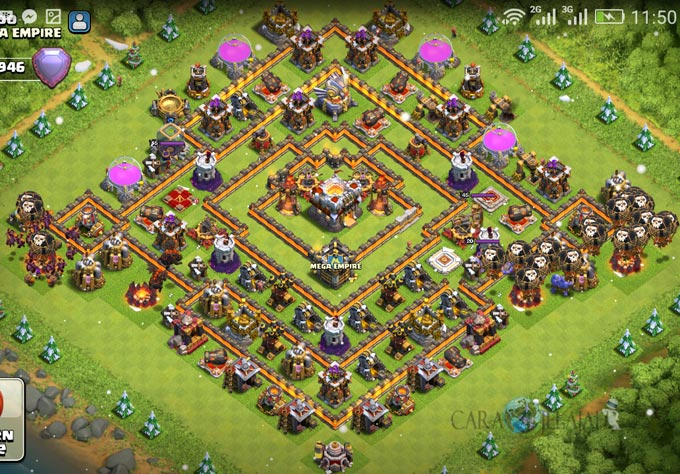 Base Trophy TH 11 COC Update Bomb Tower Terbaru 2017 Tipe 6