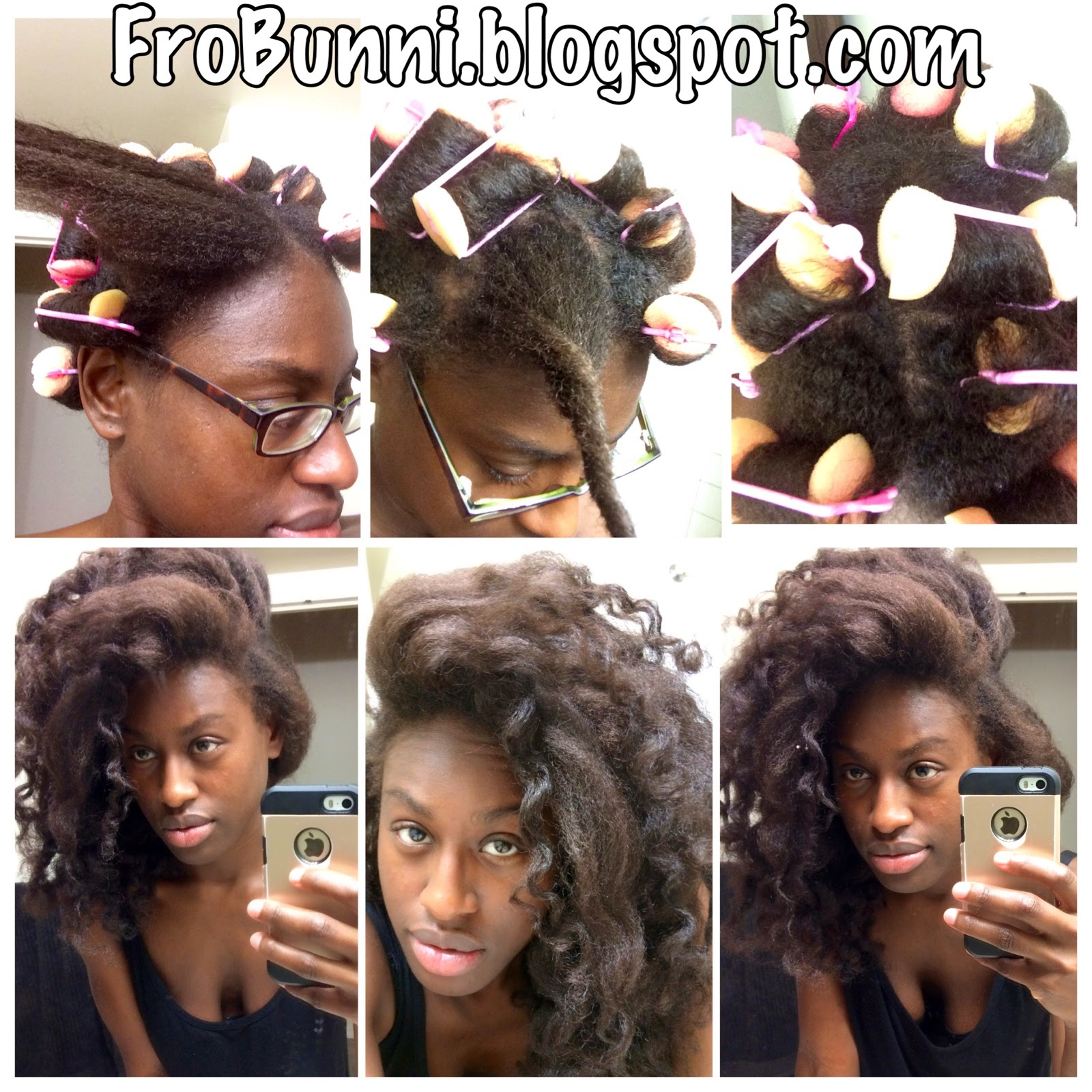 FroBunni Foam Sponge Roller Set On Natural Hair