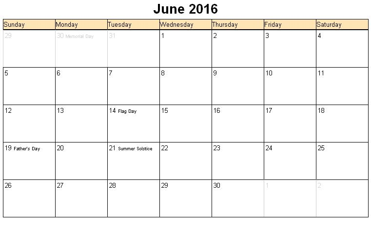 ... June 2016 Calendar with Holidays, June 2016 Calendar Word Excel PDF