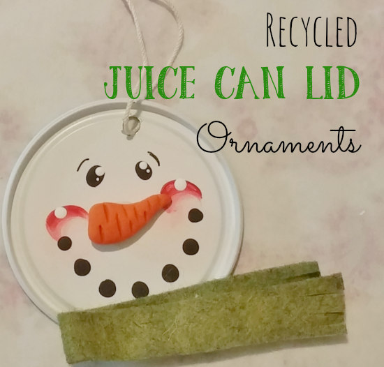 Recycled frozen juice can lids become adorable snowman ornaments!